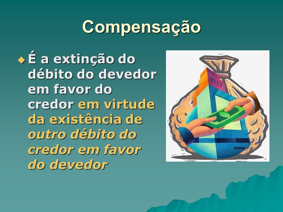Compensação É a extinção do débito do devedor em favor do credor em virtude da existência de outro débito do credor em favor do devedor.