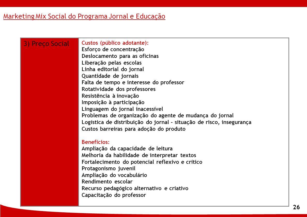 Marketing Mix Social do Programa Jornal e Educação 3) Preço Social