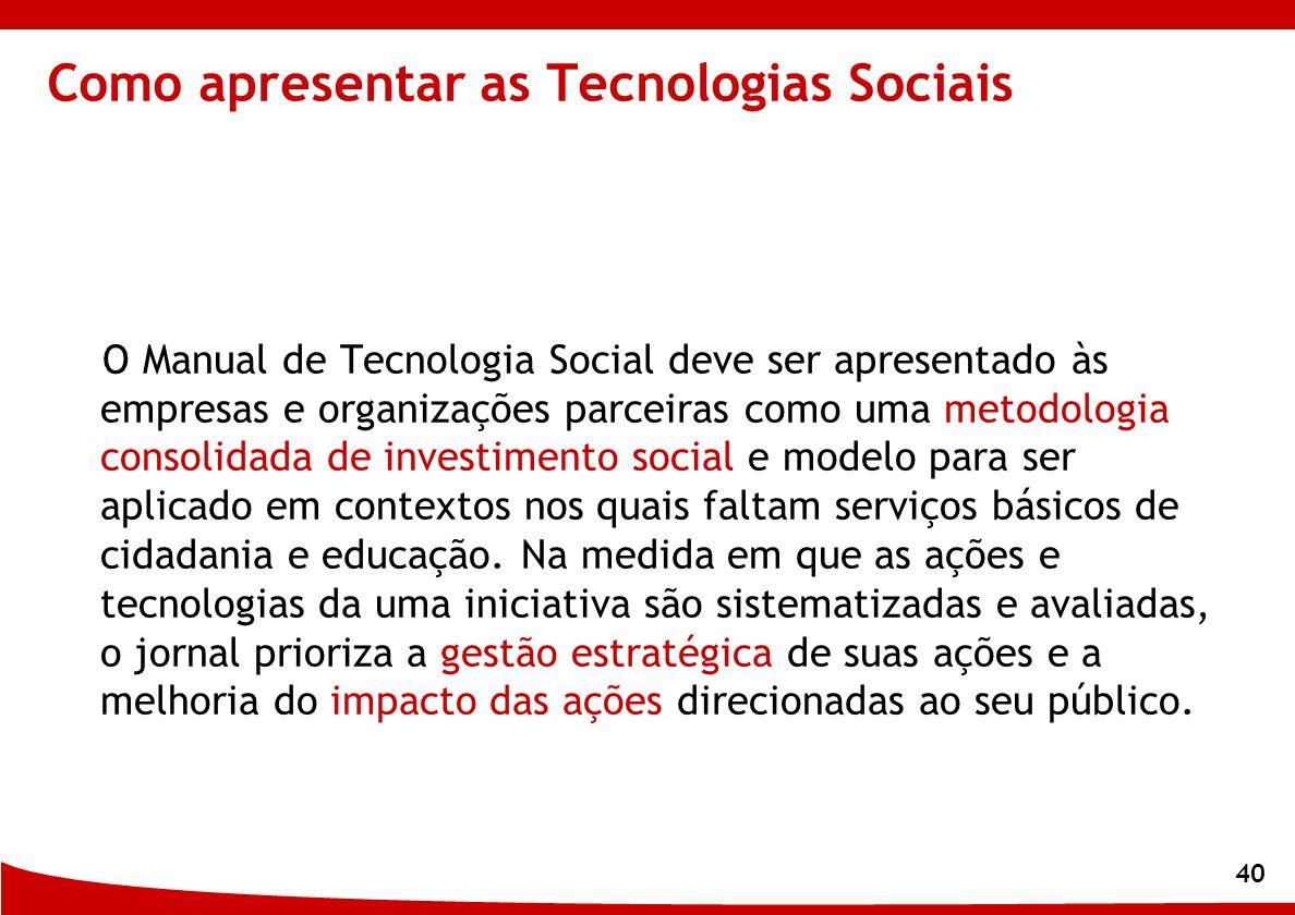 Como apresentar as Tecnologias Sociais