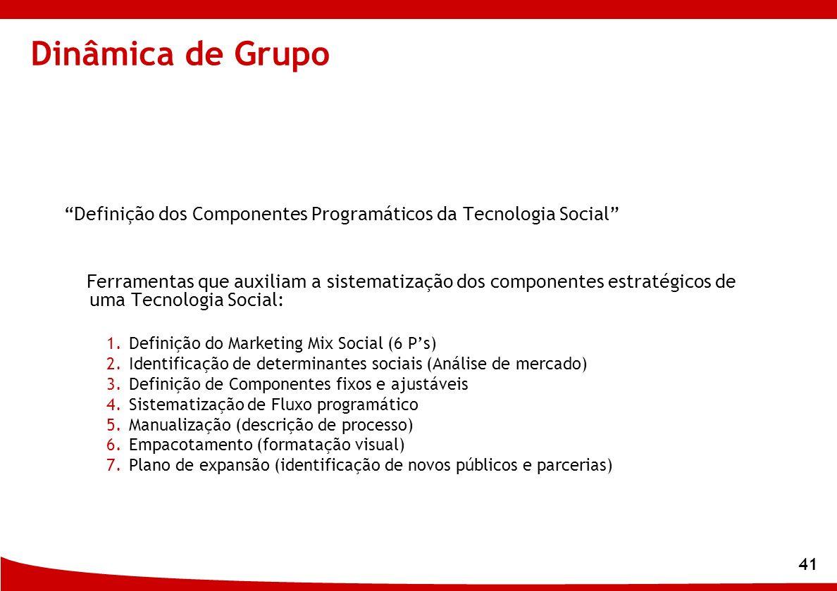 Dinâmica de Grupo Definição dos Componentes Programáticos da Tecnologia Social