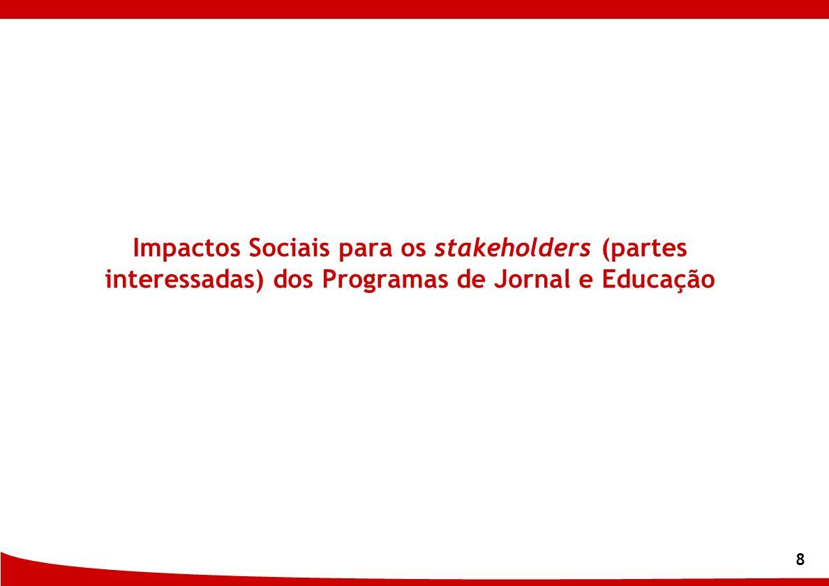 Impactos Sociais para os stakeholders (partes interessadas) dos Programas de Jornal e Educação