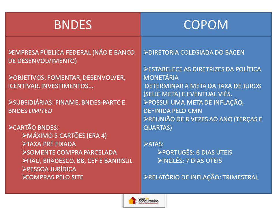 BNDES COPOM EMPRESA PÚBLICA FEDERAL (NÃO É BANCO DE DESENVOLVIMENTO)
