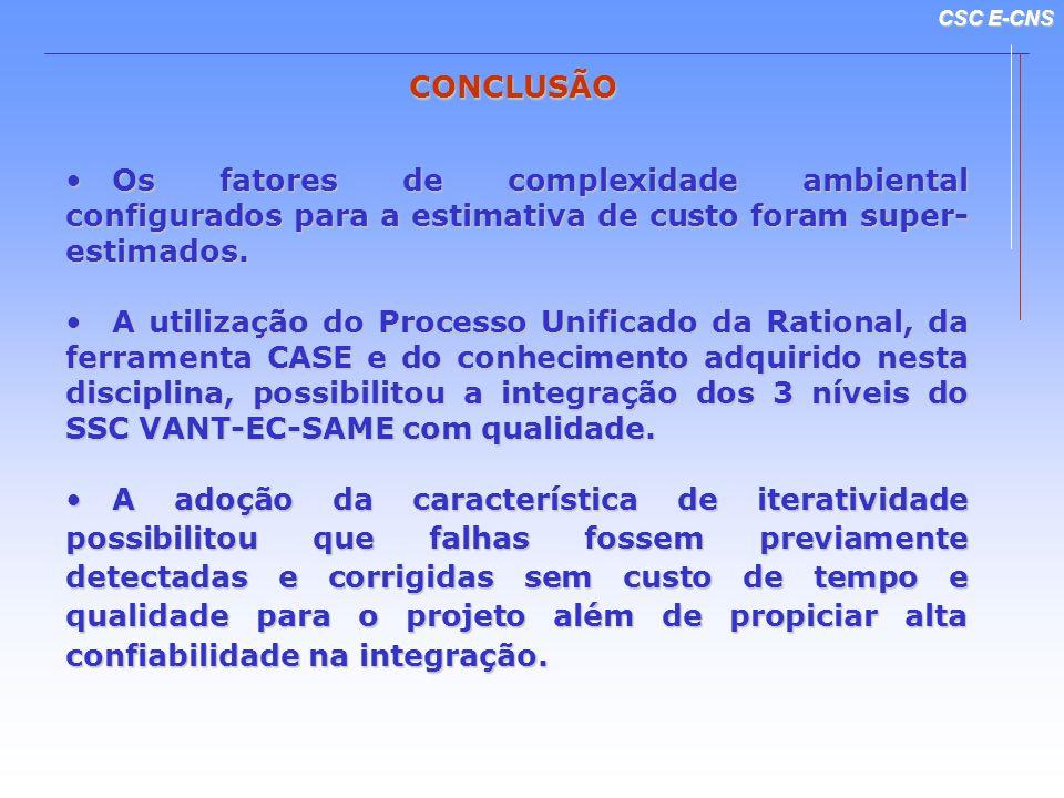 CONCLUSÃO Os fatores de complexidade ambiental configurados para a estimativa de custo foram super-estimados.