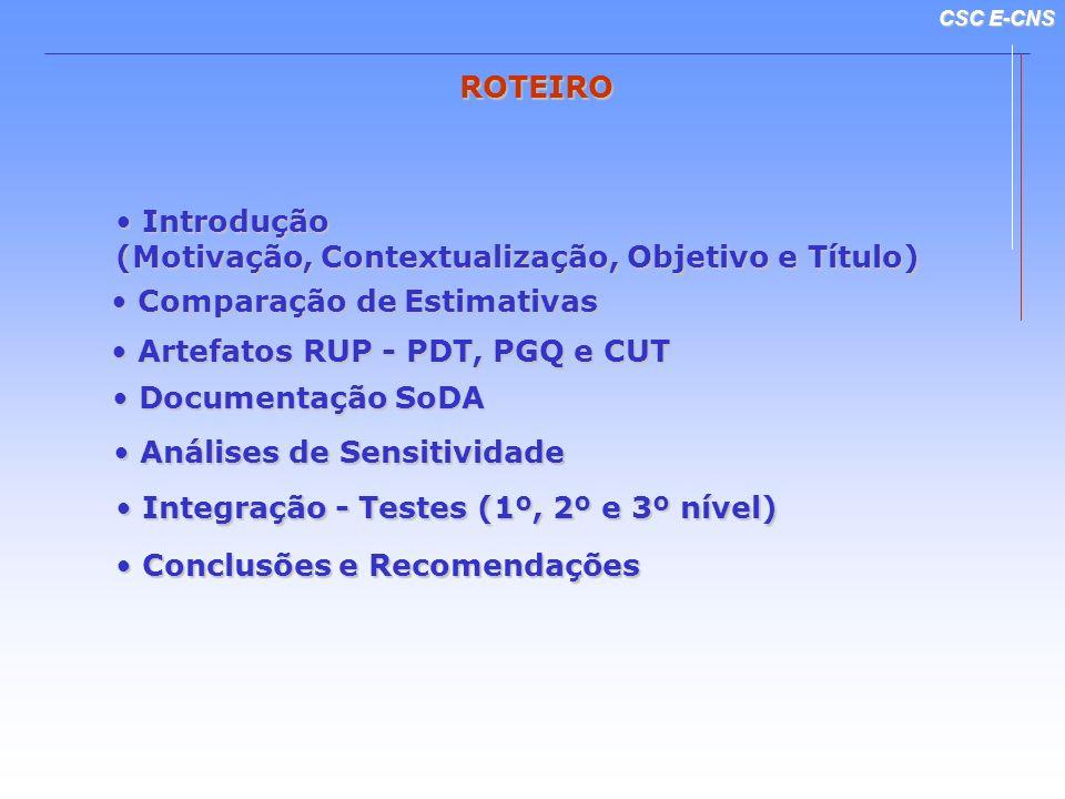 ROTEIROIntrodução. (Motivação, Contextualização, Objetivo e Título) Comparação de Estimativas. Artefatos RUP - PDT, PGQ e CUT.