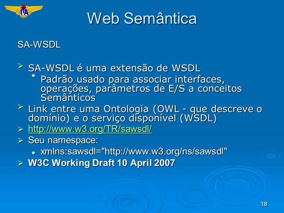 Web Semântica SA-WSDL SA-WSDL é uma extensão de WSDL