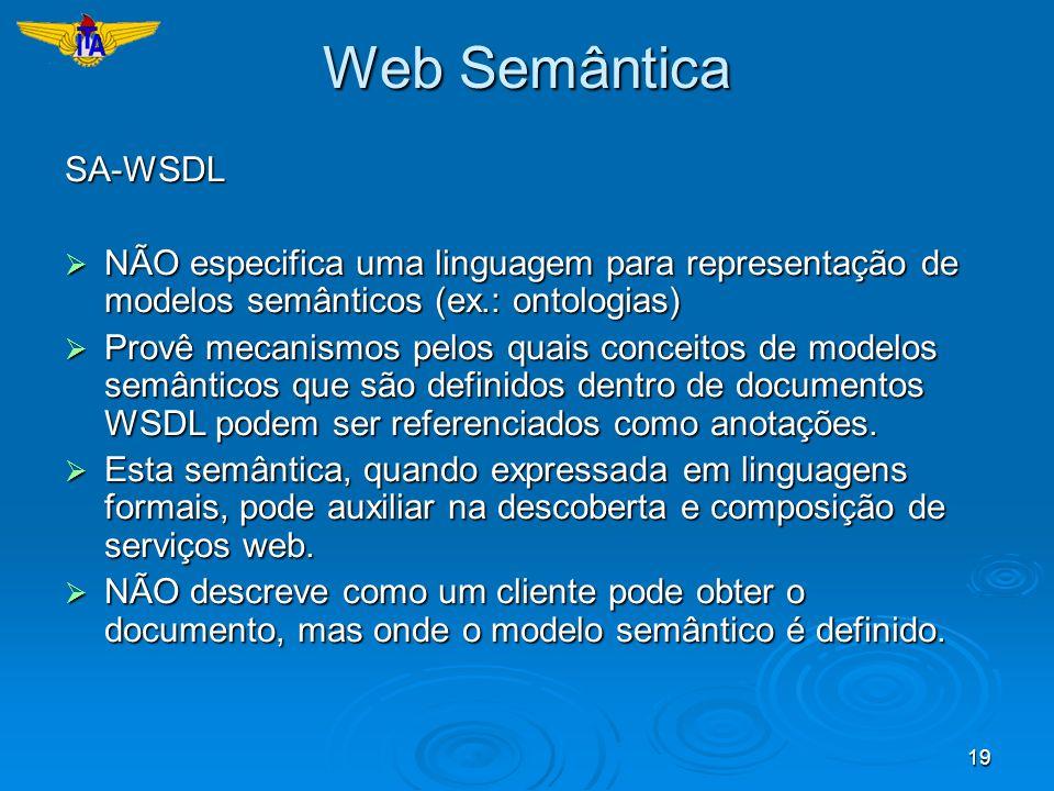 Web SemânticaSA-WSDL. NÃO especifica uma linguagem para representação de modelos semânticos (ex.: ontologias)