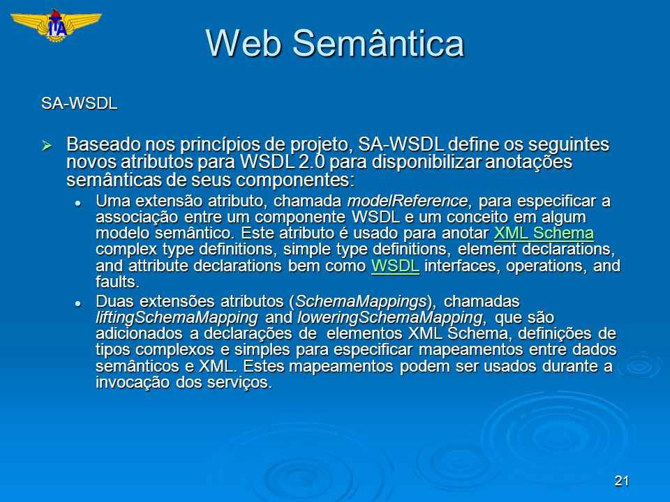 Web Semântica SA-WSDL.