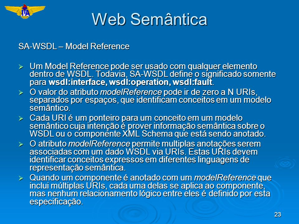 Web Semântica SA-WSDL – Model Reference