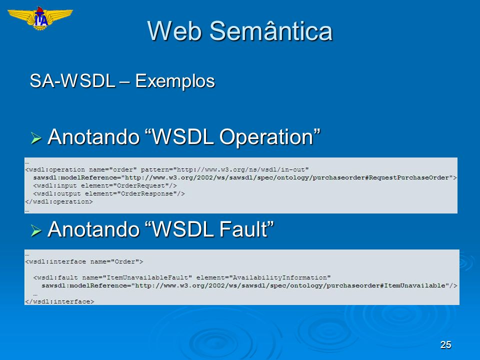 Web Semântica Anotando WSDL Operation Anotando WSDL Fault