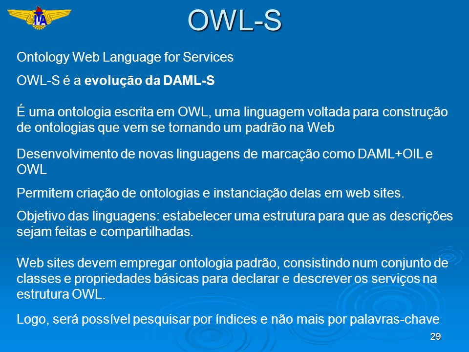OWL-S Ontology Web Language for Services OWL-S é a evolução da DAML-S