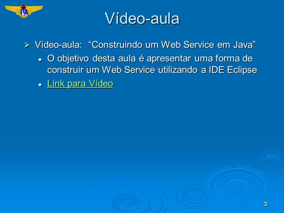 Vídeo-aula Vídeo-aula: Construindo um Web Service em Java