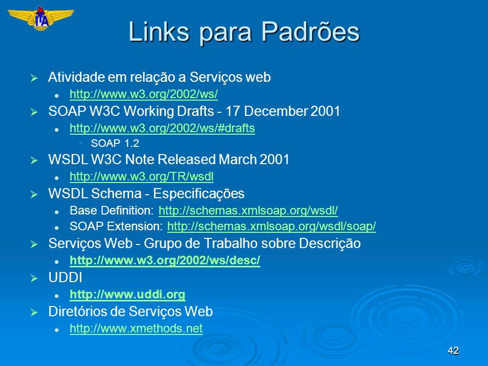 Links para Padrões Atividade em relação a Serviços web