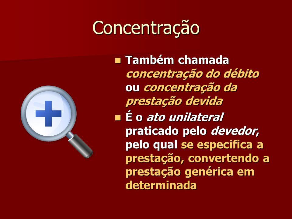 Concentração Também chamada concentração do débito ou concentração da prestação devida.