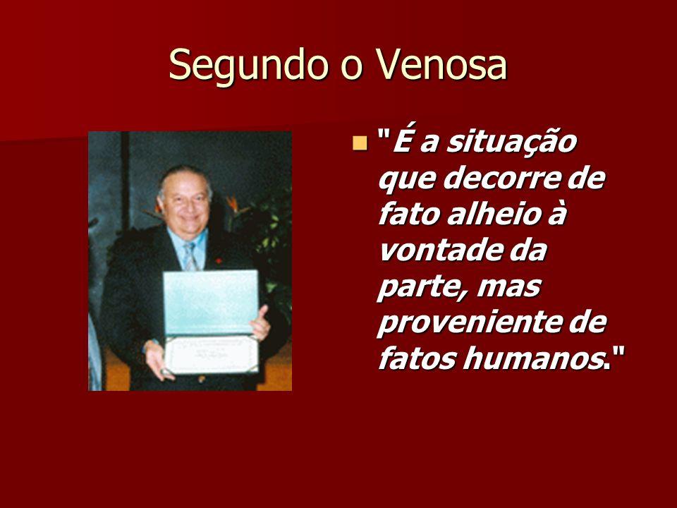 Segundo o Venosa É a situação que decorre de fato alheio à vontade da parte, mas proveniente de fatos humanos.