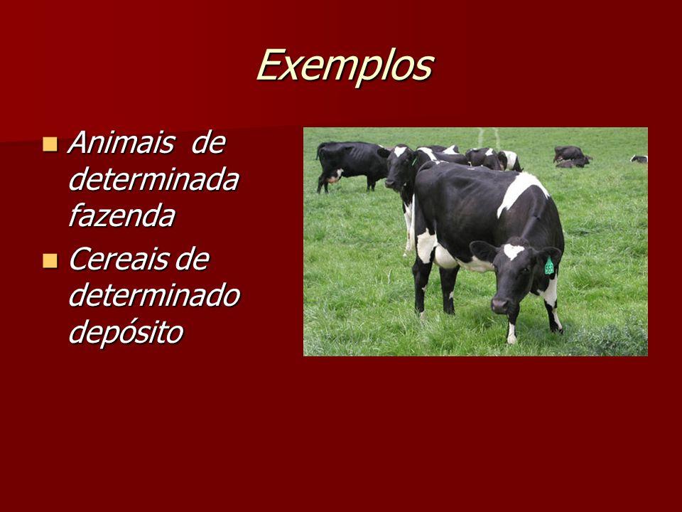 Exemplos Animais de determinada fazenda