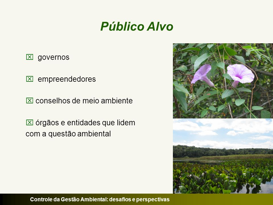 Público Alvo governos empreendedores conselhos de meio ambiente
