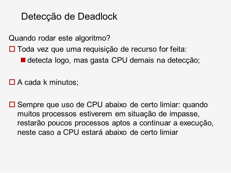 Detecção de Deadlock Quando rodar este algoritmo