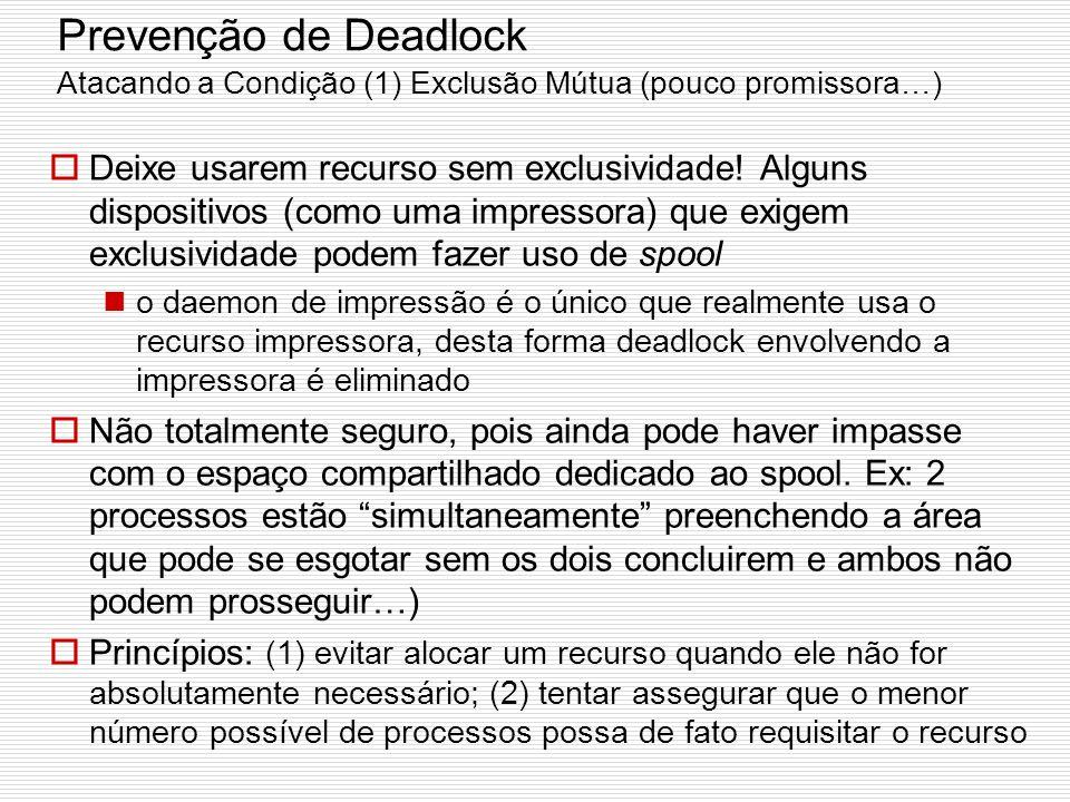 Prevenção de Deadlock Atacando a Condição (1) Exclusão Mútua (pouco promissora…)