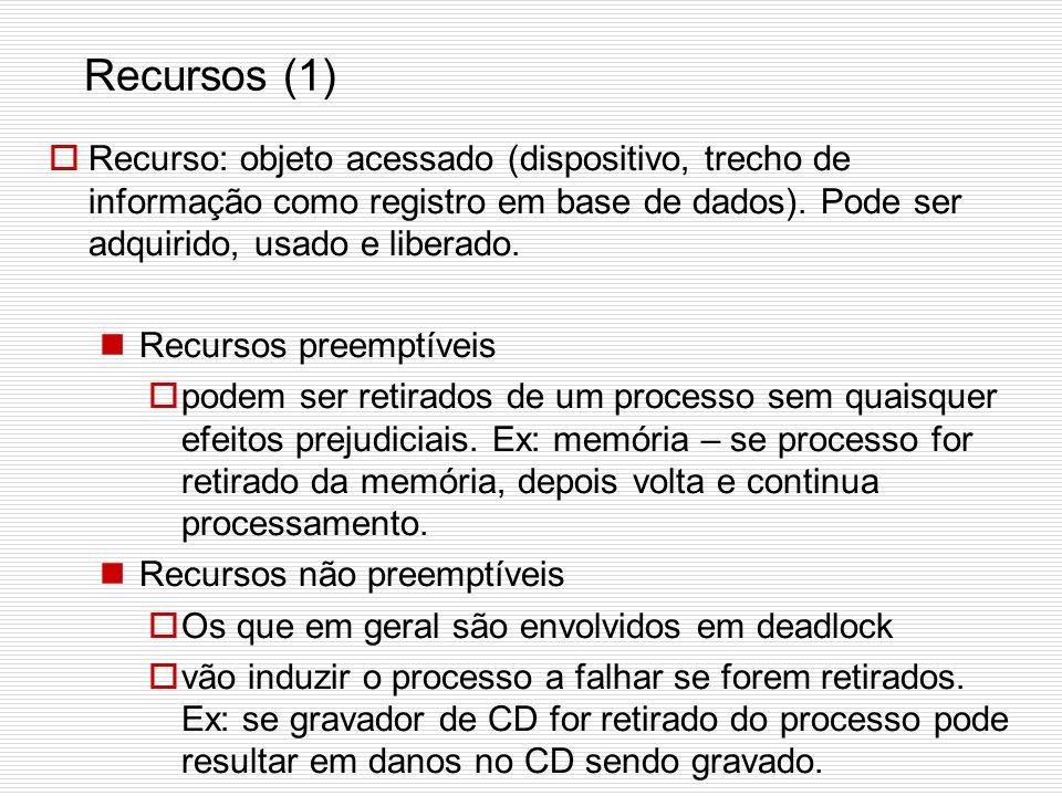 Recursos (1) Recurso: objeto acessado (dispositivo, trecho de informação como registro em base de dados). Pode ser adquirido, usado e liberado.