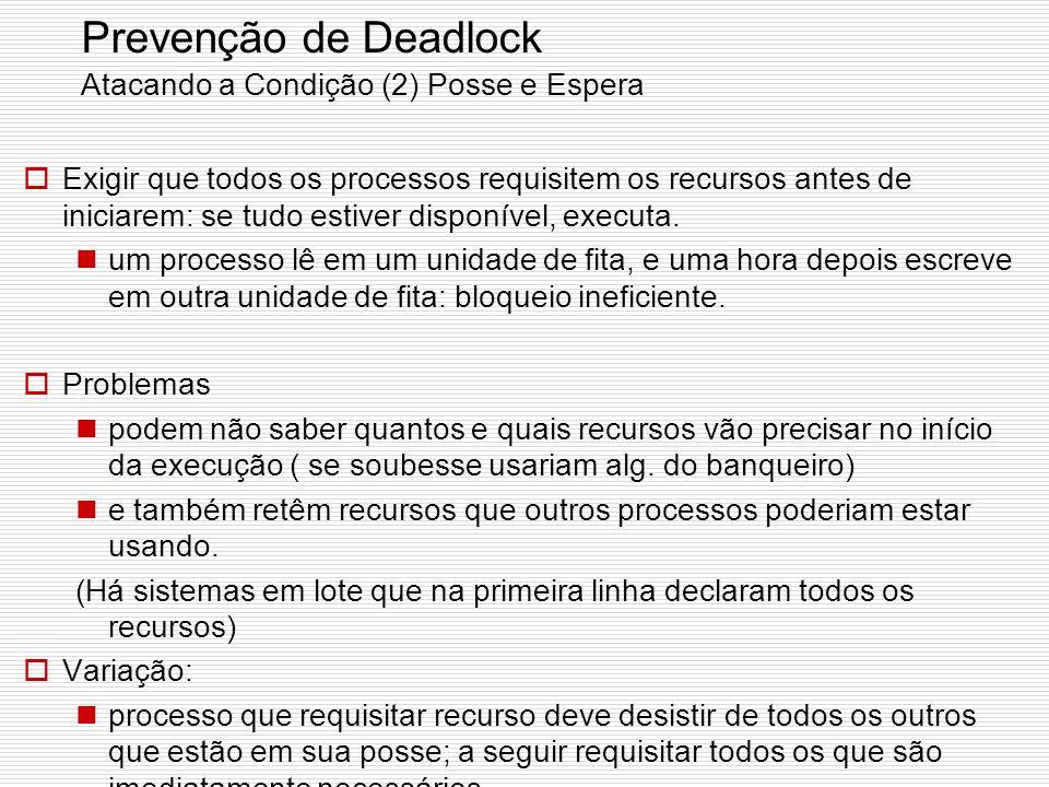 Prevenção de Deadlock Atacando a Condição (2) Posse e Espera