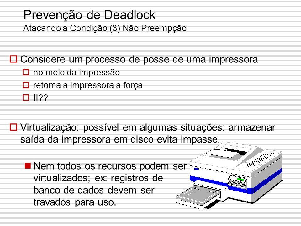Prevenção de Deadlock Atacando a Condição (3) Não Preempção