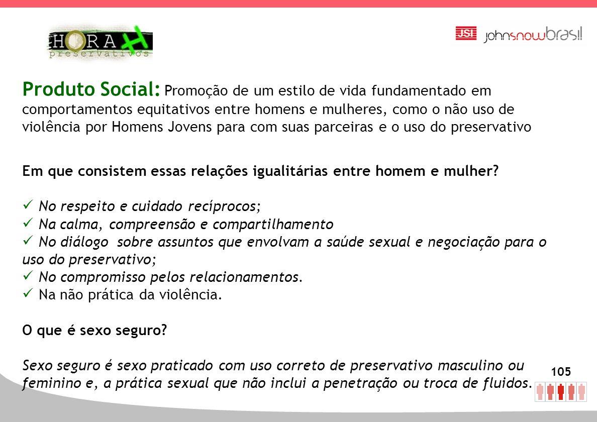 Produto Social: Promoção de um estilo de vida fundamentado em comportamentos equitativos entre homens e mulheres, como o não uso de violência por Homens Jovens para com suas parceiras e o uso do preservativo