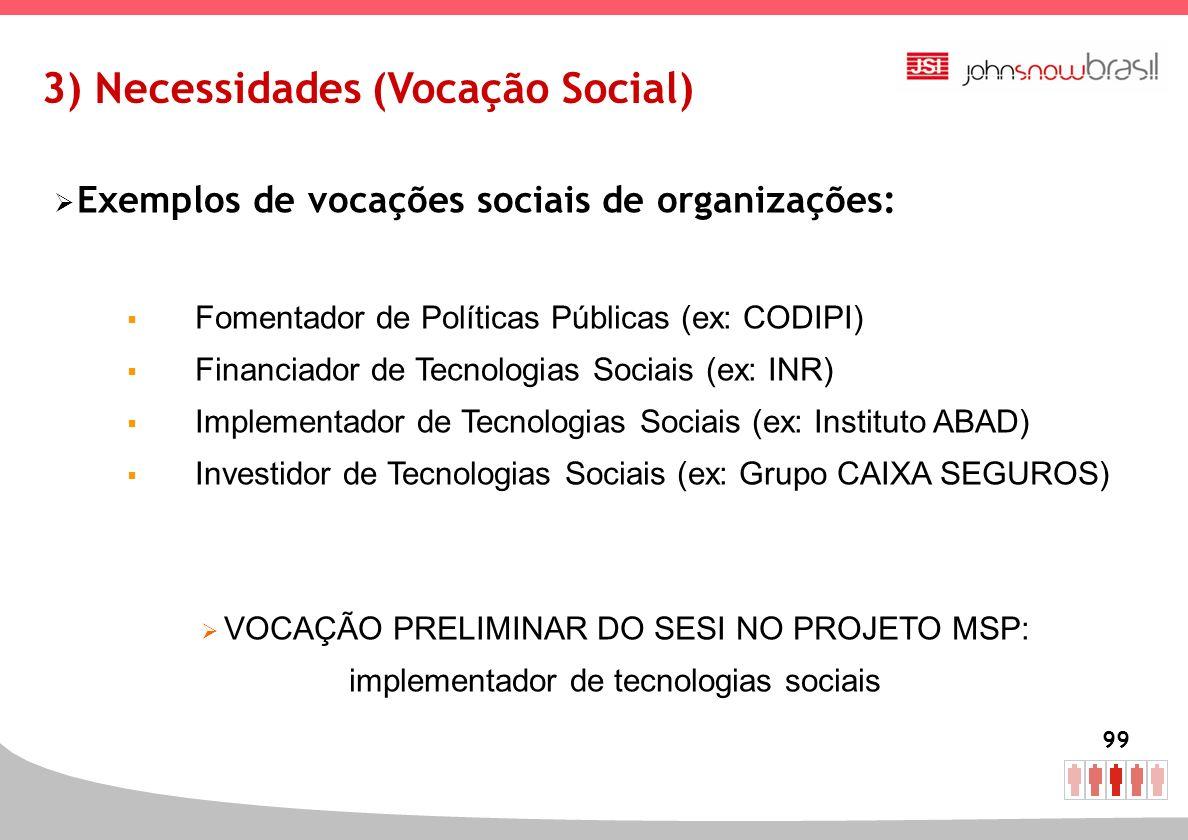 3) Necessidades (Vocação Social)