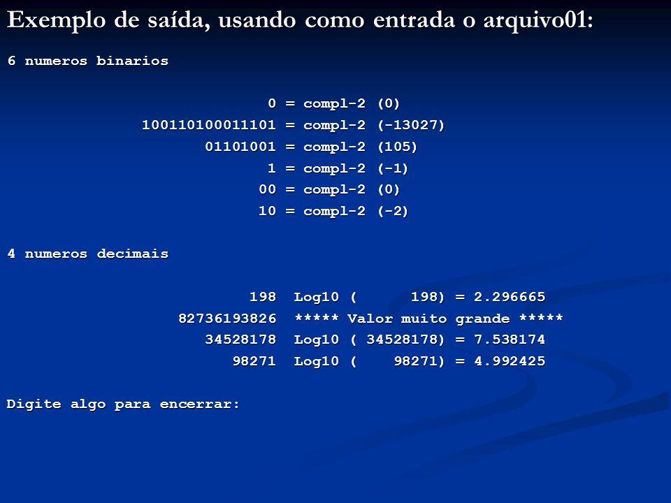 Exemplo de saída, usando como entrada o arquivo01:
