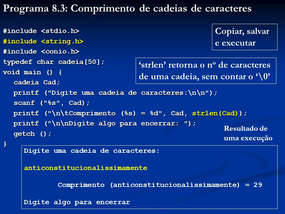 Programa 8.3: Comprimento de cadeias de caracteres