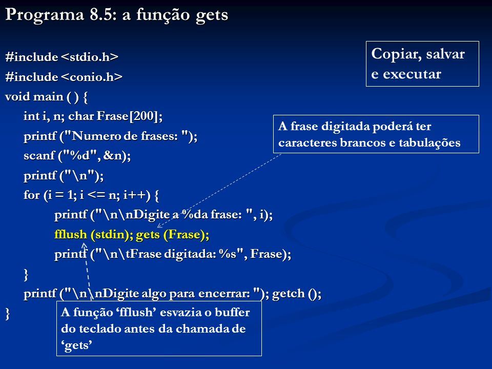 Programa 8.5: a função gets