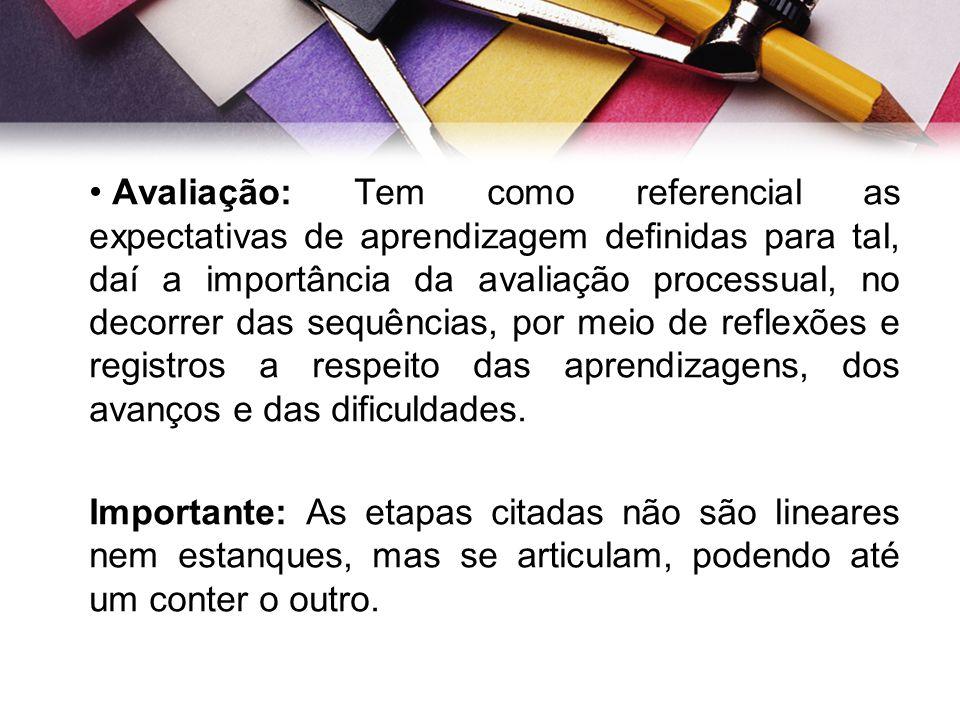 Avaliação: Tem como referencial as expectativas de aprendizagem definidas para tal, daí a importância da avaliação processual, no decorrer das sequências, por meio de reflexões e registros a respeito das aprendizagens, dos avanços e das dificuldades.
