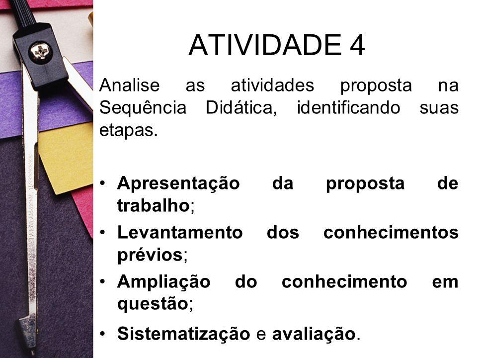 ATIVIDADE 4 Analise as atividades proposta na Sequência Didática, identificando suas etapas. Apresentação da proposta de trabalho;