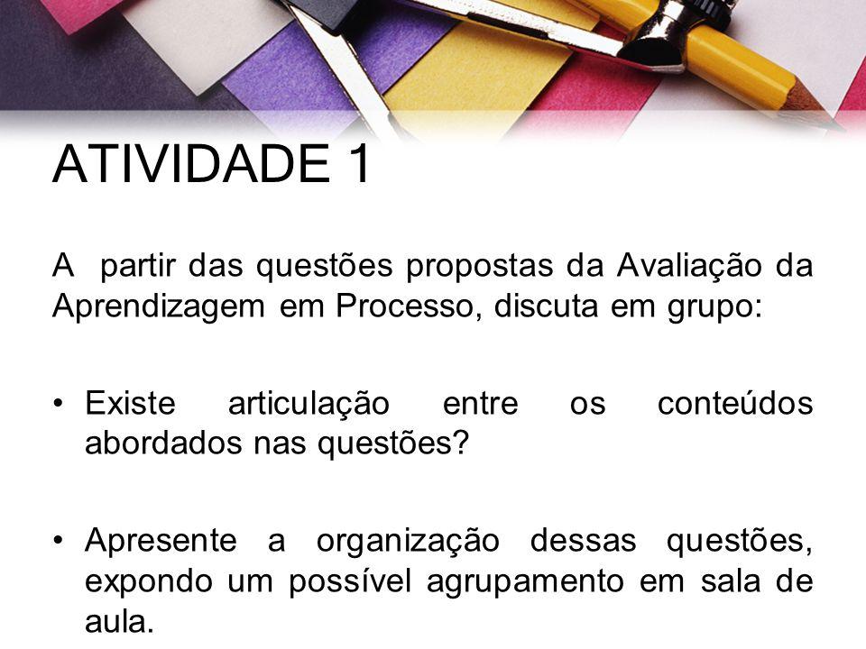 ATIVIDADE 1 A partir das questões propostas da Avaliação da Aprendizagem em Processo, discuta em grupo: