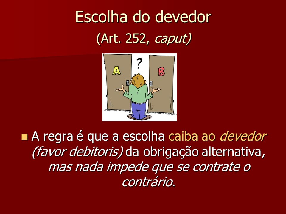Escolha do devedor (Art. 252, caput)