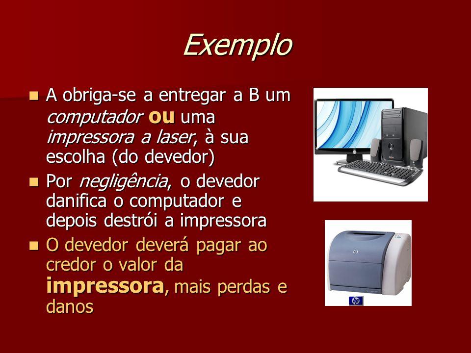 Exemplo A obriga-se a entregar a B um computador ou uma impressora a laser, à sua escolha (do devedor)