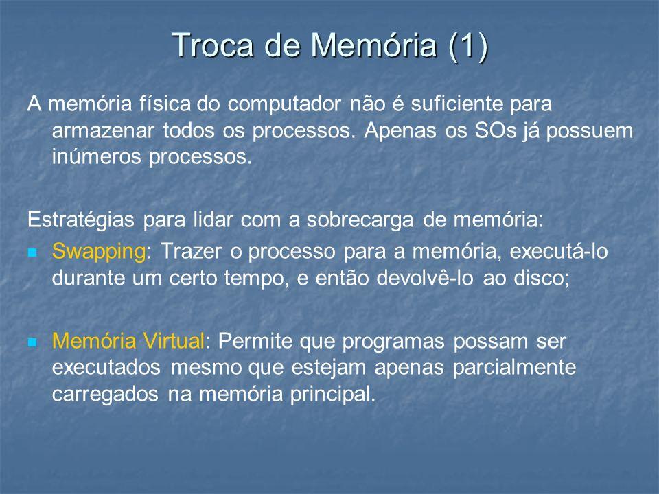 Troca de Memória (1) A memória física do computador não é suficiente para armazenar todos os processos. Apenas os SOs já possuem inúmeros processos.