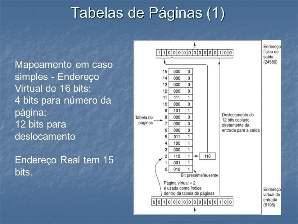 Tabelas de Páginas (1) Mapeamento em caso simples - Endereço Virtual de 16 bits: 4 bits para número da página;
