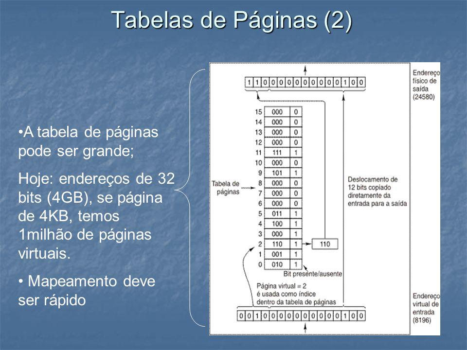 Tabelas de Páginas (2) A tabela de páginas pode ser grande;