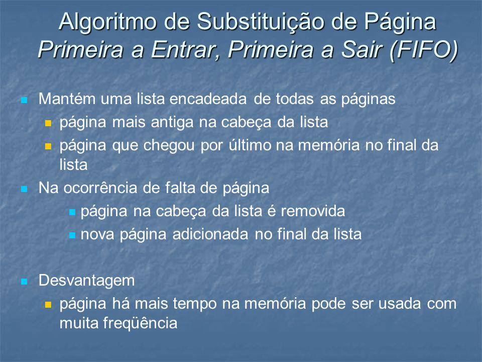 Algoritmo de Substituição de Página Primeira a Entrar, Primeira a Sair (FIFO)