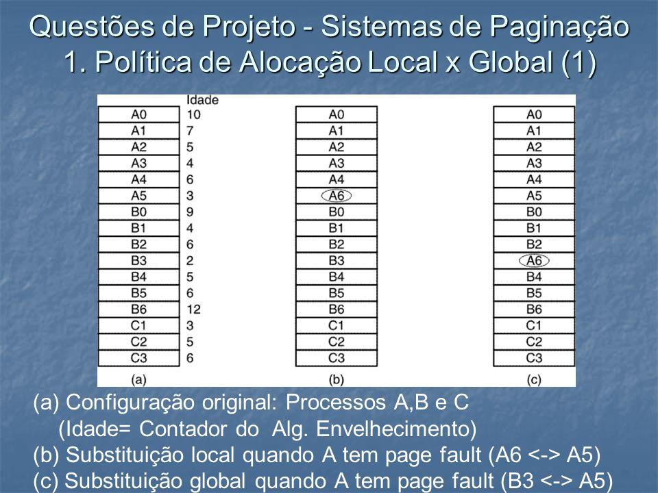 Questões de Projeto - Sistemas de Paginação 1