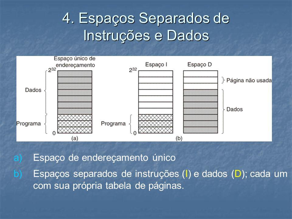 4. Espaços Separados de Instruções e Dados