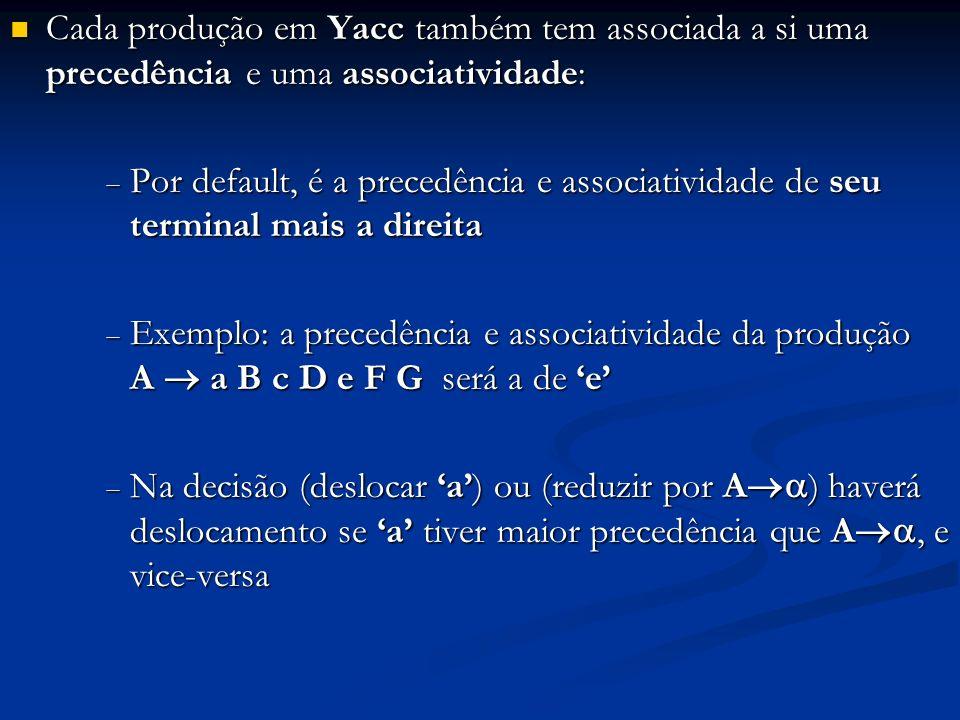Cada produção em Yacc também tem associada a si uma precedência e uma associatividade: