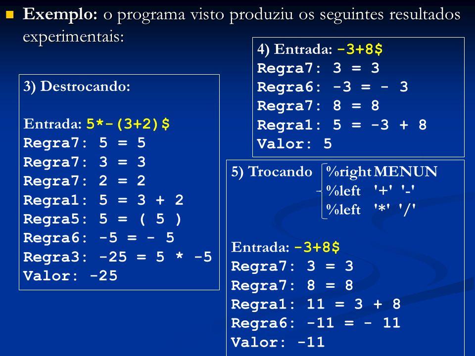 Exemplo: o programa visto produziu os seguintes resultados experimentais: