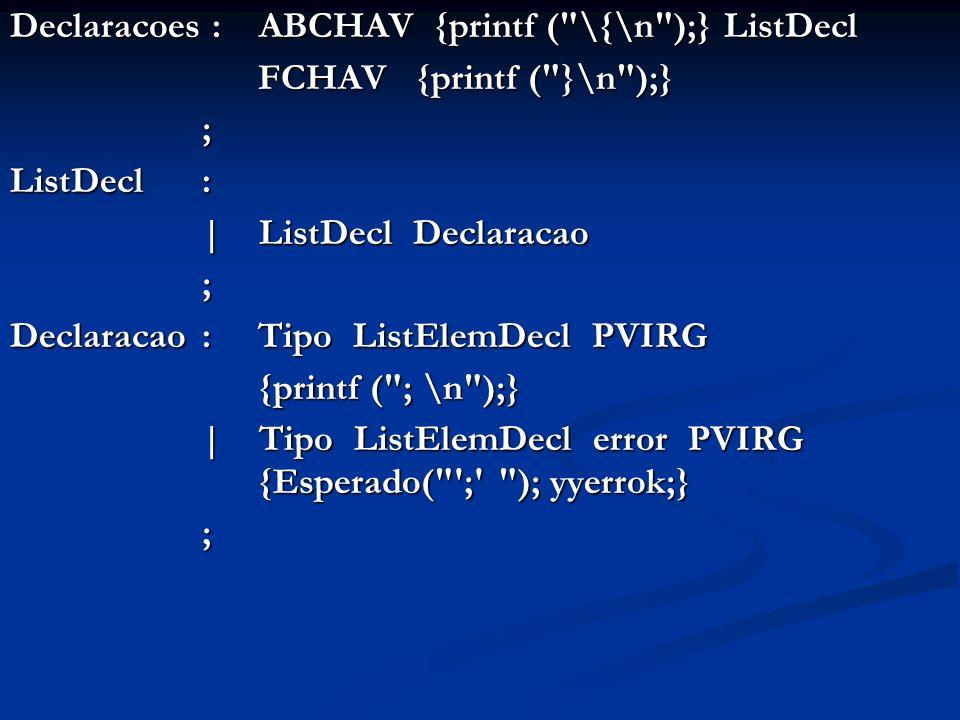 Declaracoes : ABCHAV {printf ( \{\n );} ListDecl