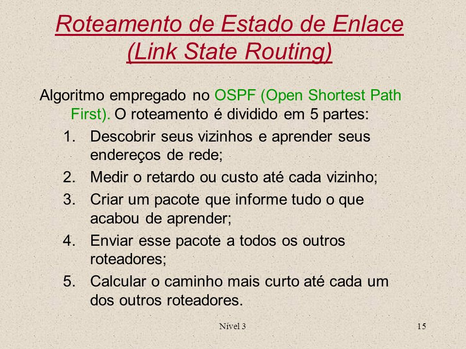 Roteamento de Estado de Enlace (Link State Routing)