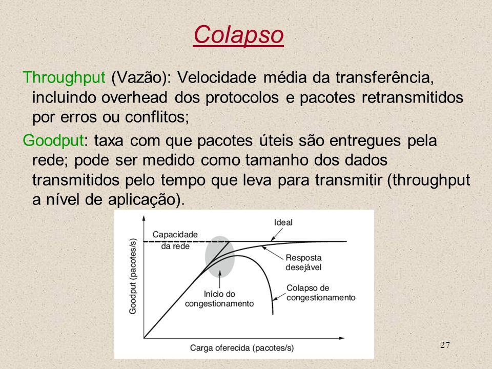 ColapsoThroughput (Vazão): Velocidade média da transferência, incluindo overhead dos protocolos e pacotes retransmitidos por erros ou conflitos;