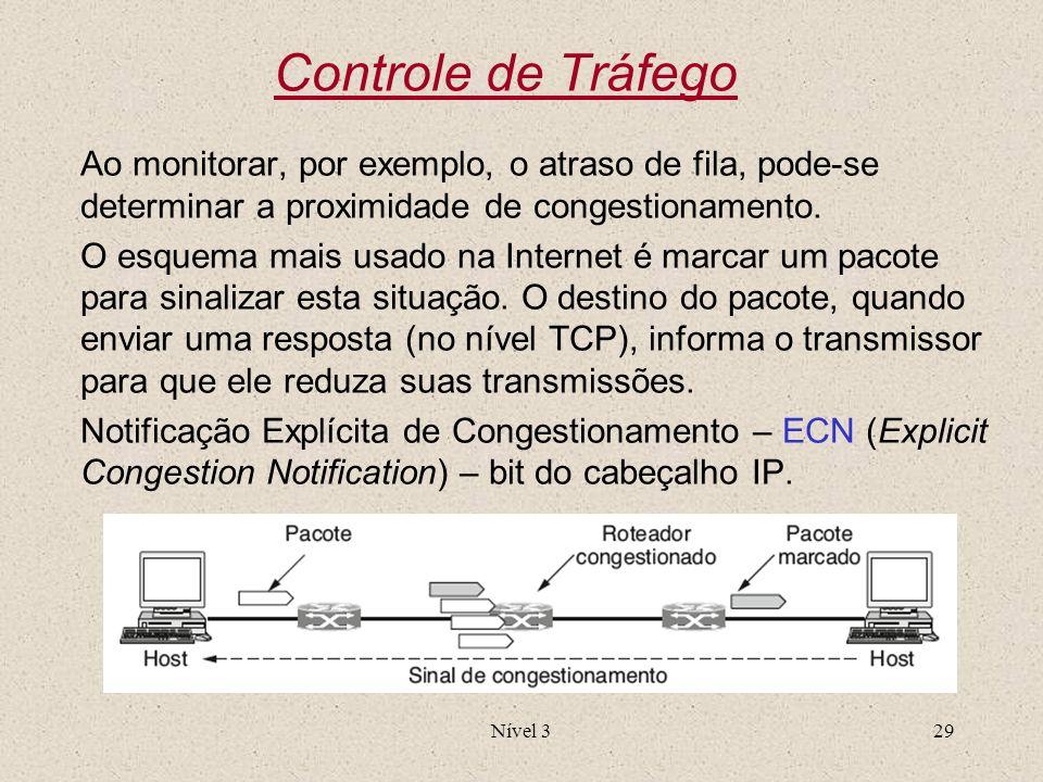 Controle de Tráfego Ao monitorar, por exemplo, o atraso de fila, pode-se determinar a proximidade de congestionamento.