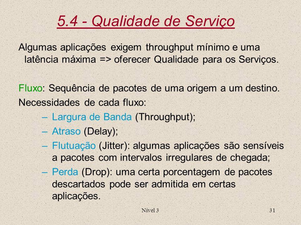 5.4 - Qualidade de Serviço Algumas aplicações exigem throughput mínimo e uma latência máxima => oferecer Qualidade para os Serviços.