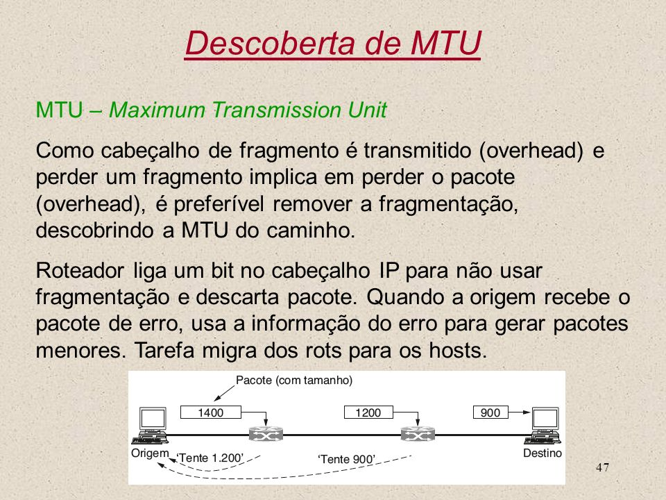 Descoberta de MTU MTU – Maximum Transmission Unit