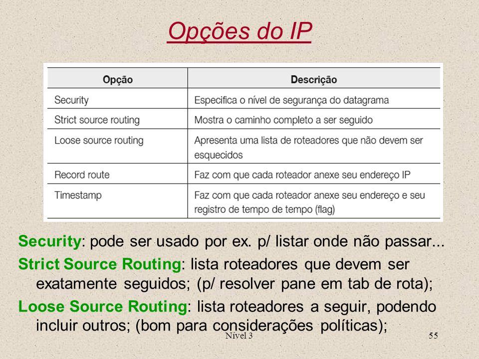 Opções do IPSecurity: pode ser usado por ex. p/ listar onde não passar...